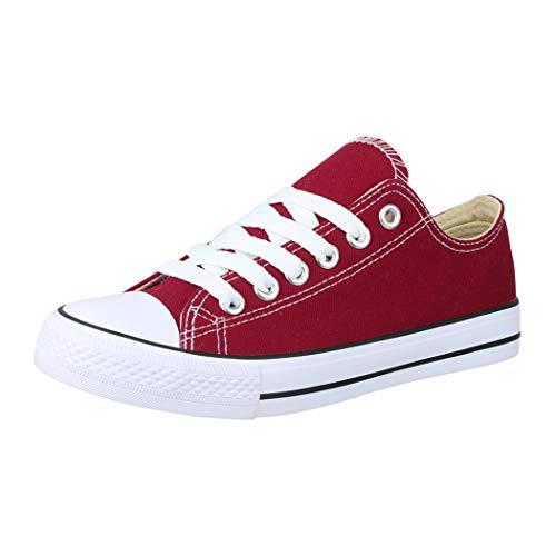 Elara Unisex Sneaker Low top Turnschuh Textil Chunkyrayan 36-46 A-YD3230-Bordorot-38