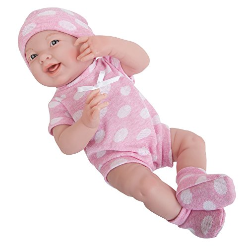 """La Newborn Boutique - Realistic 15"""" Anatomically Correct Real Girl Baby Doll - All Vinyl ?Pink Polka Dot ? - Made in Spain"""