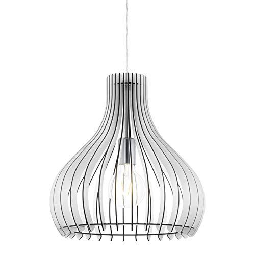 EGLO Lámpara colgante Tindori, 1 lámpara de techo vintage, lámpara de techo de acero y madera en níquel mate, color blanco, lámpara de comedor, lámpara colgante con casquillo E27, diámetro de 38 cm