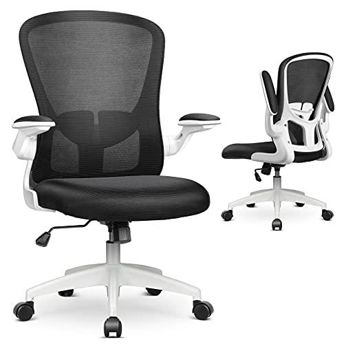 MFAVOUR Bürostuhl, Schreibtischstuhl, Chefsessel, Bürostuhl Ergonomisch, Höhenverstellbarer Drehstuhl mit Klappbaren Armlehnen, Verstellbare Lendenstütze, Weiß