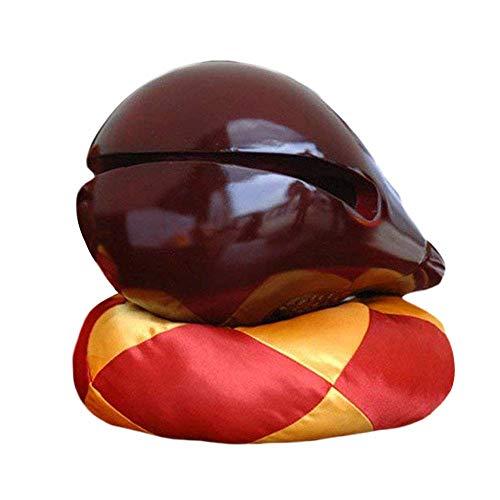 NJXM Temple Hölzerne Fisch Traditionellen Chinesischen Mönch Holzblock Holz Fisch Zen Risses Trommel Und Kissen Meditation Recitation Musikinstrument,Dunkelrot