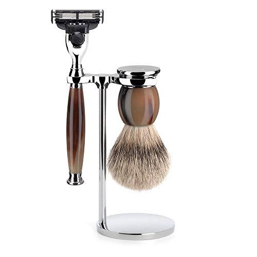 MÜHLE - Set de rasage - Série Sophiste - blaireau de rasage embout argenté - compatible avec Gillette Mach3 - Véritable Corne clair