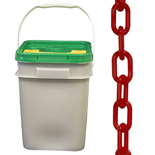 Mr. Chain Plastic Barrier Chain Pail, Red, 2-Inch Link Diameter, 160-Foot Length (50005-P)