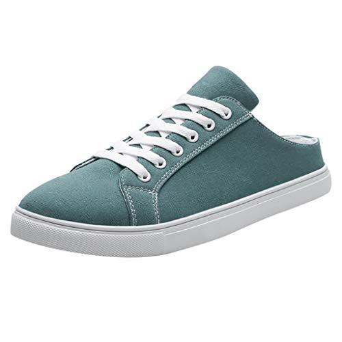 AIni Herren Schuhe Sale 2019 Neuer Heißer Mode Beiläufiges Schnüren Sie Sich Oben Breathable Segeltuch Normallack Schuh Turnschuhe Freizeitschuhe Partyschuhe (43,Grün)