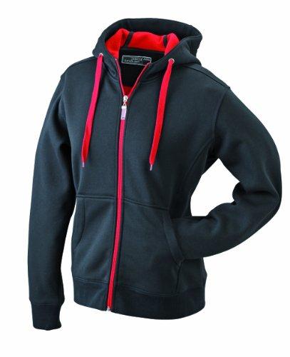 James & Nicholson Damen Doubleface Jacket Jacke, Schwarz (Black/red), 38 (Herstellergröße: L)