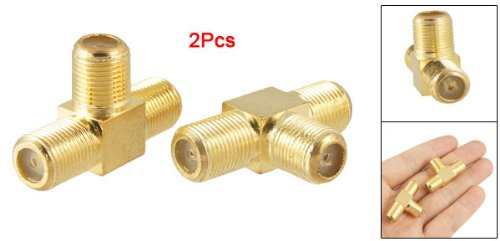 uxcell 2pcs F Female to 2x F female Jack RF Adapter Connector 3 Way Splitter