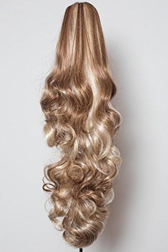 Elegant Hair - 56 cm / 22 pouces queue de cheval boucles toumbants – Brun cendré/mélange blond #10/613 -Clip-in pièce de extensions de cheveux réversible - Avec griffe-clip - 30 Couleurs - 250g