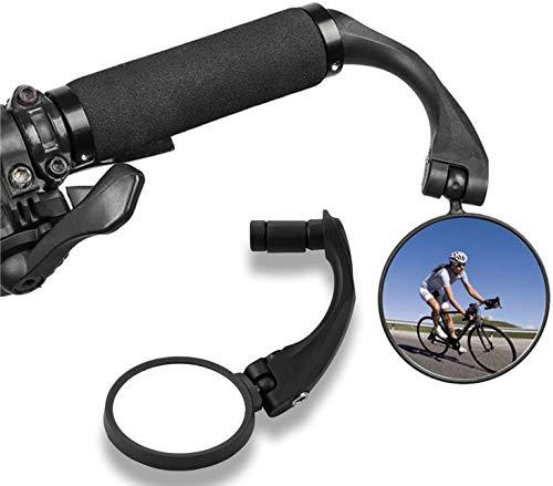 Espejo Retrovisor de Bicicleta, 360°Grados Giran Ajustable Espejo Retrovisor del Manillar,Ajustable Montado Plástico Espejo Convexo para Bicicletas de Carretera, Bicicletas de Montaña, Motocicletas
