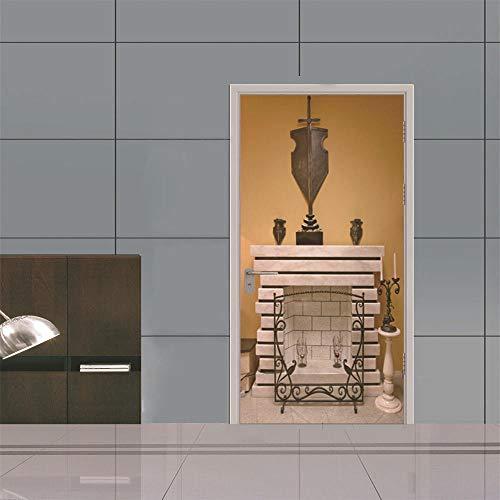 AFTUZC 3D Türaufkleber Selbstklebend,3D-Drucken Kamin Vintage Classic Wall Sticker Wasserdicht Applique PVC Umweltfreundlich Für Schlafzimmer Wohnzimmer Store Tür Wandbild Einrichtung, 77 X 200 cm.