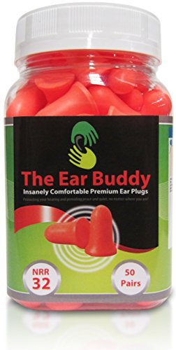 The Ear Buddy Premium Soft Foam Ear Plugs, Best Noise Cancelling Earplugs For Sleeping, Hearing...
