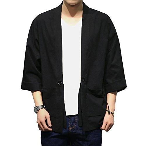 Mirecoo - Chaqueta de algodón para hombre, diseño japonés Happi Kimono Haori Negro L