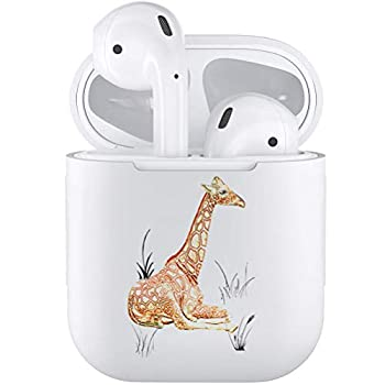 Silicone TPU Cute Accessories Holder Case Cover Skin with Keychain Compatible with Airpods Air Pods 1 2 Giraffe Cute Giraffe Animal Drawing