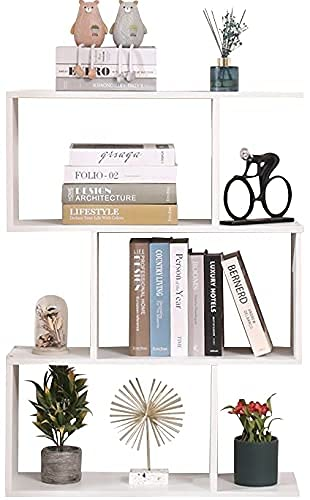 Etnicart - Librería Estante blanco Oficina Moderno Contemporáneo Divisor de madera de doble cara Home Day 70x23.5x96 Estantes independientes Estantes Cubos Diseño de pared