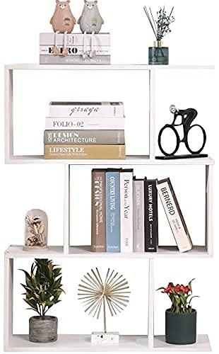 Etnicart - Libreria Scaffale Bianca Ufficio Moderna Contemporanea Bifacciale Divisorio Legno Casa Giorno 70x23.5x96 Autoportante Mensole Scaffali Cubi Muro Design Ingresso Soggiorno-