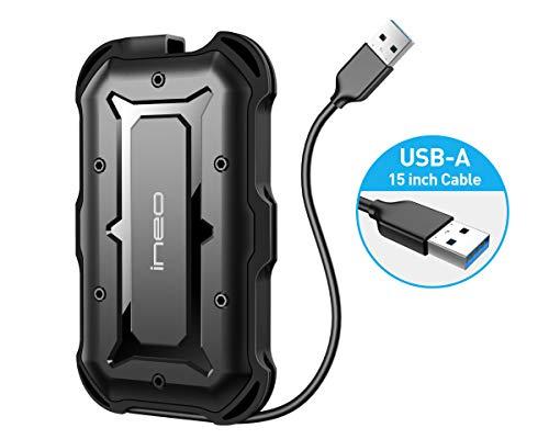 """ineo USB 3.0 Type-A IP66 & MIL-STD 810G rau Schutzhülle Externe Festplatte werkzeugfreie Gehäuse für 2.5\"""" 9,5 mm & 7 mm SATA HDD SSD integriertes Kabel [T2566II]"""