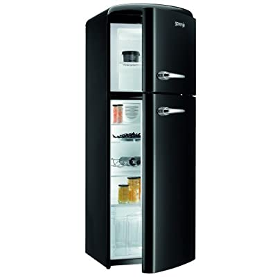 Gorenje RF60309OBK Retro Style Right Hand Hinge Top Mount Freestanding Fridge Freezer Black