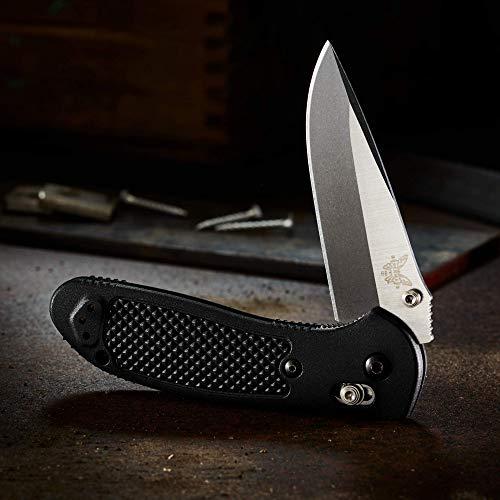 Benchmade - Mini Griptilian 556-1 Knife, Drop-Point Blade, Plain Edge, Satin Finish, Gray G10 Handle, Made in USA