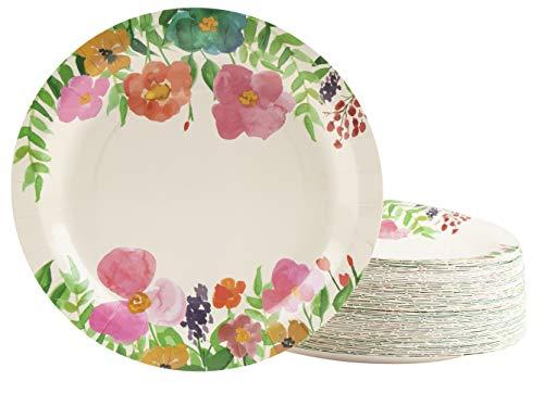 Platos de papel florales, flores de acuarela (9 pulgadas, 80 unidades)