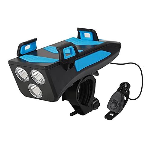 YINHAO 4in1 bicicletta telefono cellulare USB ricarica tesoro rack supporto faro altoparlante bici supporto telefono staffa allarme campana luce anteriore (colore : blu 2000mAh)