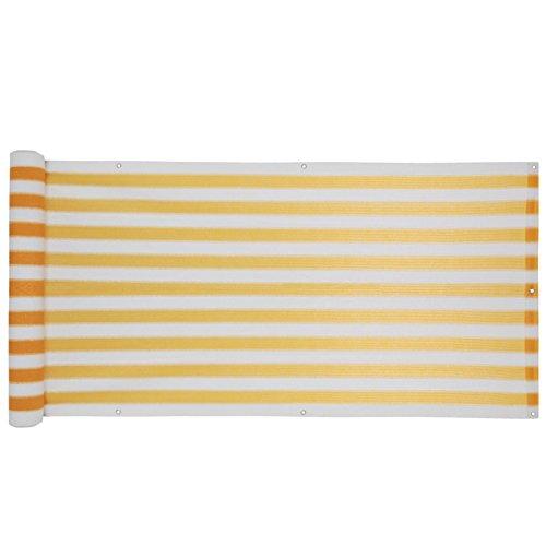 Sichtschutz 0,9 m x 5 m gelb Windschutz Balkonblende Verkleidung weiß