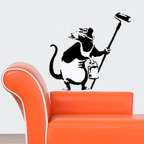Banksy Dekoration Ratte Schablone   Wiederverwendbar Startseite-Wand-Dekor Schablone   Graffiti Banksy Stil Kunst Schablone   Wandfarbe Stoffe & Möbel - halb transparent Schablone, M/ 26X27.5CM