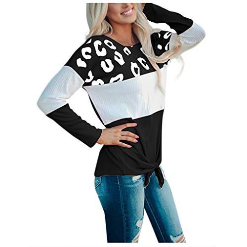 EUCoo Damen Soft Casual Tops Shirts Mode Twist Geknotete Blusen Kurzarm Langarm...