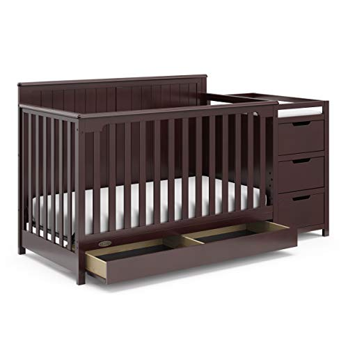 Storkcraft Hadley 4 in 1 Convertible Crib Changer, Espresso, Easily Converts to Toddler Bed Day Bed or Full Bed, Three Position Adjustable Height Mattress (Mattress Not Included)