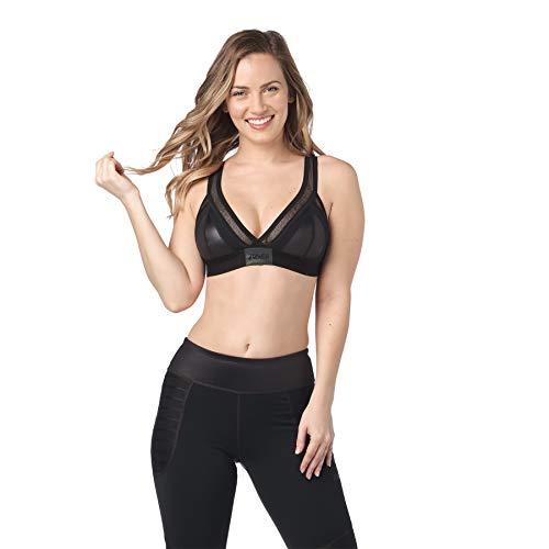 Zumba Dance Fitness Workout V Neck Jacquard Sujetador Deportivo Mujer Alto Impacto, Bold Black 4, XL