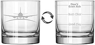 11 oz Rocks Whiskey Highball Glass Two Sided Airplane Pilot Flight Attendant