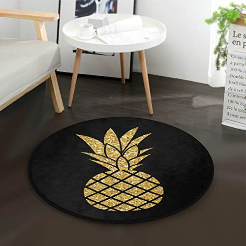 Mnsruu Teppich mit goldfarbenem Glitzer, Ananas, schwarz, rund, rutschfest, bequem, für Wohnzimmer, Schlafzimmer, 92 cm Durchmesser