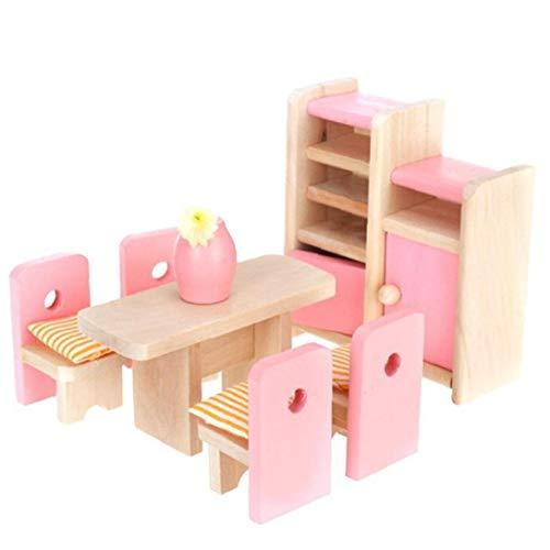 Aardich Gastronomie Puppenstubenzimmer Holzmöbel Set Tisch + Stuhl + Display Unit + Vase
