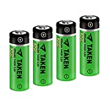 14430 Battery, Taken 14430 3.2V 450mAh LiFePo4 Rechargeable Solar Battery for Solar Panel Outdoor Garden Lights (4 Pack)
