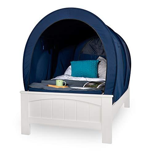 Snuggy Pod Bett-Zelt für alle Altersgruppen, Design Pink, Marineblau, Grau, Verdunkelung (Marineblau, Doppelbett)