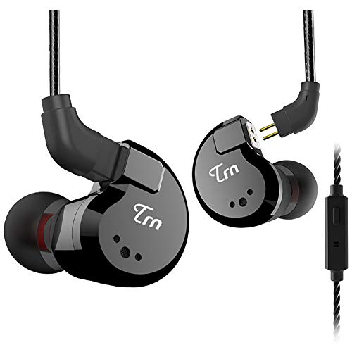 TRN V80 HiFi Earphone 2 Dynamic & 2 Balanced Armature Driver Stereo Bass IEM, Metal in Ear Headphone, Stage/Studio in Ear Monitor with Detachable 2 Pin Cable (Black with Mic)