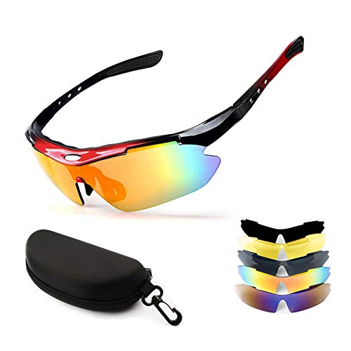 New rui cheng Radsportbrillen Sportbrille Radsportbrille UV 400 Polarisierte Sport-Sonnenbrille mit 5 Wechselgläsern Fahrradbrille Polarisierte Sportbrille Herren Damen Angeln im Freien Fahren Brille