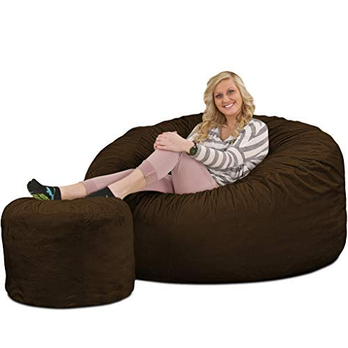 Ultimate Sack Bean Bag Chair w/Foot Stool in Multiple Sizes and Colors: Giant Foam-Filled Furniture...