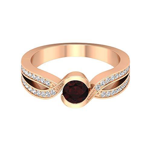 Anillo de granate solitario 3/4 quilates, 1/4 quilates HI-SI diamante, anillo de derivación de oro (granate redondo de 5 mm), 14K Oro rosa, Size:EU 45