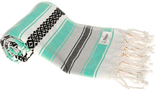Bersuse 100% Katoen - San Jose Turkse Handdoek - Badhanddoeken, Strandlakens - Fouta Peshtemal Hamamdoek - Mexican Design, OEKO-TEX - 90 x 180 cm, Muntgroen