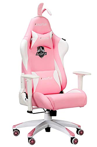 Gaming Chair Large Size High-Back PU Leather Ergonomic Racing Seat with Lumbar Support, Rabbit Ears and Fluffy Tail, Pink chair gaming white