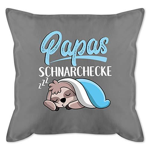 Vatertagsgeschenk Kissen - Papas Schnarchecke mit Faultier - weiß - Unisize - Grau - Papas schnarchecke Kissen - GURLI Kissen mit Füllung - Kissen 50x50 cm und Dekokissen mit Füllung
