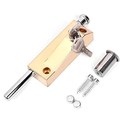 Perno multiusos para puerta de garaje, cerradura de puerta, cerradura de cobertizo, cerradura de puerta universal, se suministra con 2 llaves, para uso interno y externo, color dorado