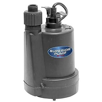 Superior Pump 91250 1/4 HP Thermoplastic Utility Pump Black