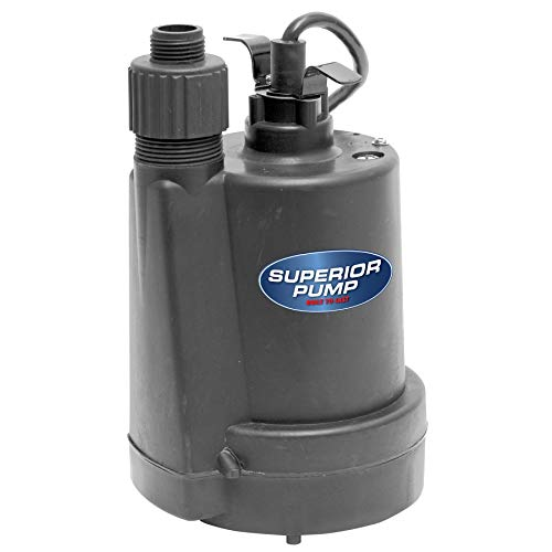 Superior Pump 91250 1/4 HP Thermoplastic Utility Pump, Black