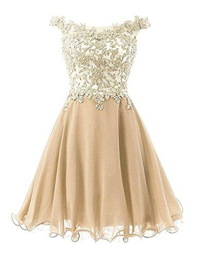 JAEDEN Ballkleider Kurz Brautjungfernkleid Partykleider Hochzeitskleider Damen Chiffon Champagner EUR46