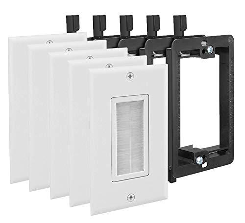 Fosmon Cable Wallplate - Weiß Idealer Bürstentyp für Lautsprecherdateien, Spielekonsolen oder Wandfernseher (Koaxialkabel, HDTV, HDMI.) - Packung mit 5 Stück