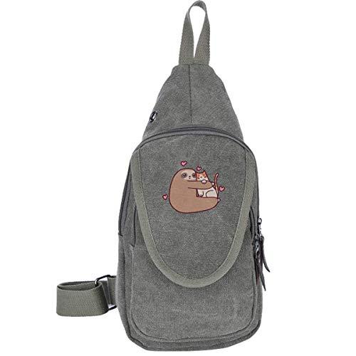 Sloth Loves Cat Canvas Chest Bag für Trekking Outdoor Sport Herren Damen Moss Grün