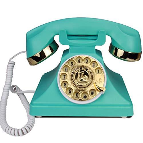 VERDELZ Retro Rotary Dialing Phone Oficina De Moda Creativa Hogar con Cable Vintage TeléFono Retro TeléFono Fijo - Azul