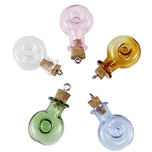 Wankd Mini glazen flesjes met kurksluiting/kleine glazen flessen/minifles/miniflesjes met kurk 5 stuks (transparant, groen, champagne, roze, paars) 2*2.5cm transparant, groen, champagne, roze, paars.