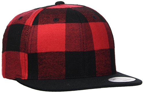 Flexfit Checked Flanell Snapback Kappe, blk/Red, one Size
