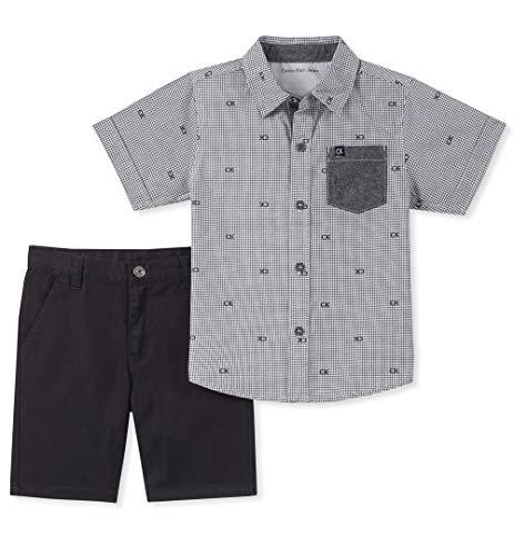 Calvin Klein Boys' Little 2 Pieces Shirt Shorts Set, Gray, 6